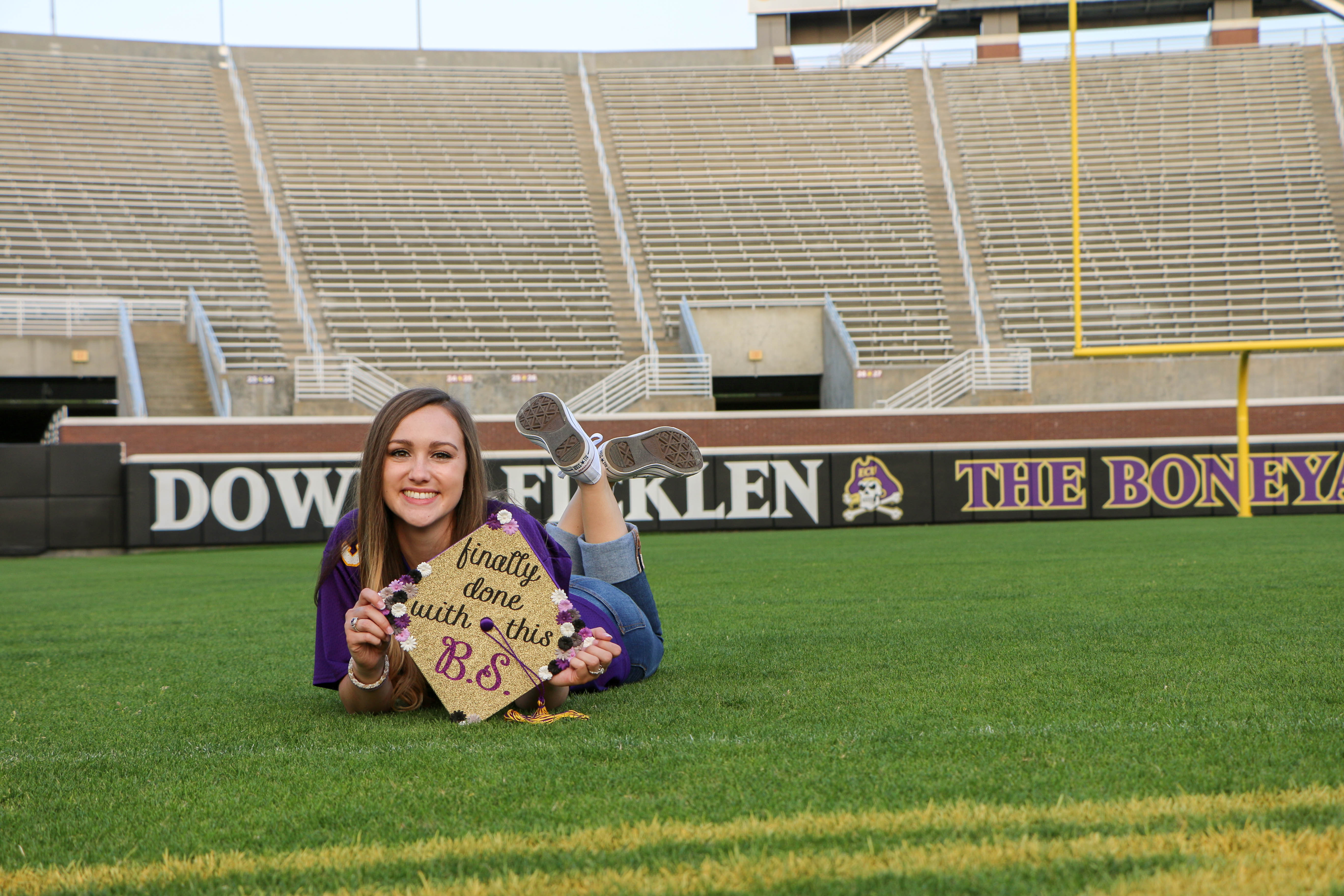 East Carolina University Marketing Graduate, Candace Herrell, at Dowdy Ficklen Stadium, The Boneyard